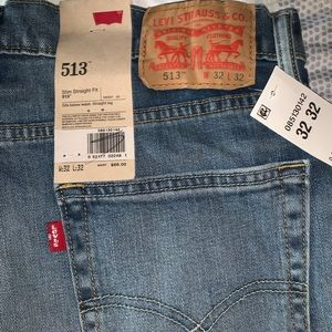 Levi 513 Light blue denim jeans, slim straight fit